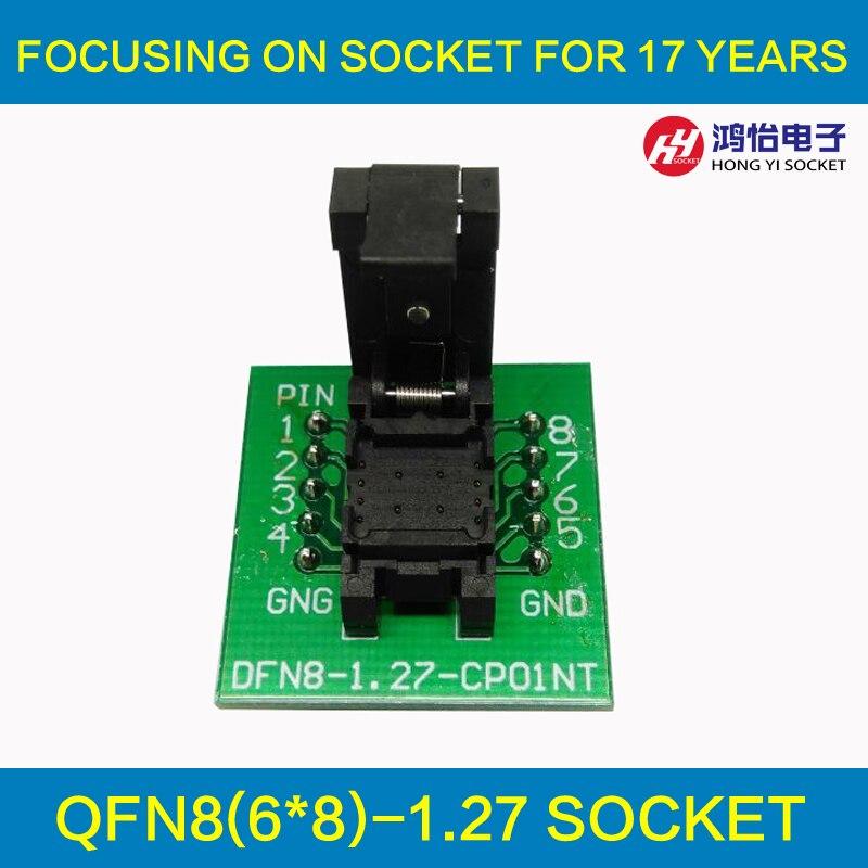 QFN8 DFN8 WSON8 Programming Socket Pogo Pin Test Adapter QFN8-1.27-CPO1PNL Pin Pitch 1.27mm IC Body Size 6*8mm Burn in Socket