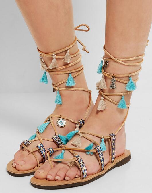 ФОТО Summer Newest Style Multi-color Flat Sandals Clip-toe Lace-up Fringe Colorful Pompom Flat Sandal Flat Beach Shoes Free Ship