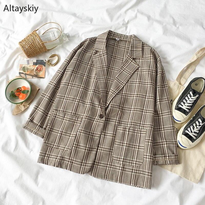 Blazers Women 2019 Turn-down Collar Plaid Retro Simple All-match Korean Style Single Button Pockets Blazer Womens Elegant Coats