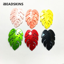 New arrival! 56x37mm 50pcs/lot acrylic feather shape charms for stud earrings/earrings accessories/Earring parts DIY