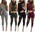 Womens Sexy Cotton Long Sleeve Tracksuit Sportswear Jumpsuit Hollow Out Cropped Tops Pants 2 Pieces