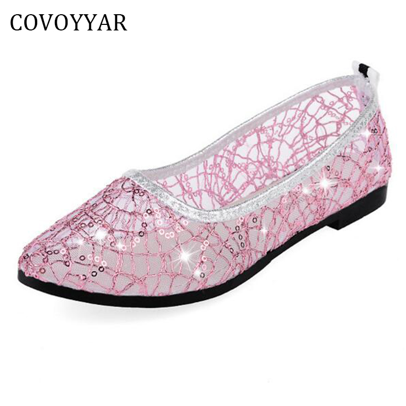 COVOYYA2017 Glitter Women Shoes Summer Mesh Lace Breathable Ladies Ballet Flats Cut Out Casual Shoes Slip On Plus Size 40 WFS756 lace mesh sheer slip babydoll