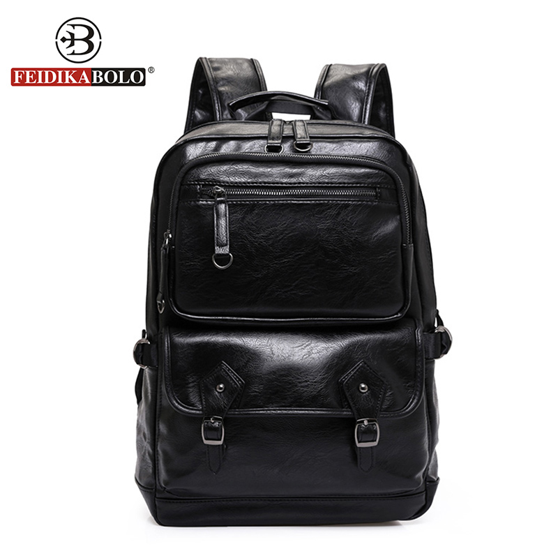 FEIDIKA BOLO Brand Men's Leather Backpacks Leather Backpack Men laptop Backpack Man back bag Designer High Quality famous brand school backpack the avengers captain america iron man fashionable laptop backpacks high quality leather