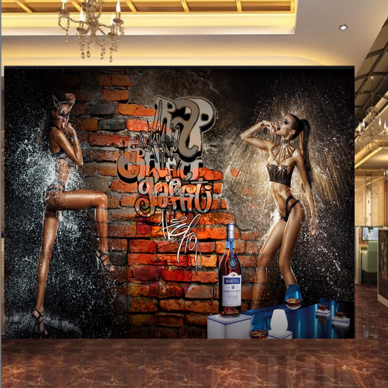 Photo wallpaper 3d brick wall sexy beauty shower mural bar for Bathroom mural wallpaper