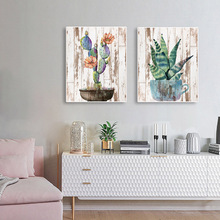 Laeacco Painting Calligraphy Canvas Watercolor Wall Art Cactus Aloe Plant Posters and Prints Picture for Living Room Home Decor