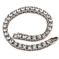 Fully Iced Out Rhinestone Bracelet Hip Hop Bling Miami Cuban Link Chain Hip Hop New Arrival