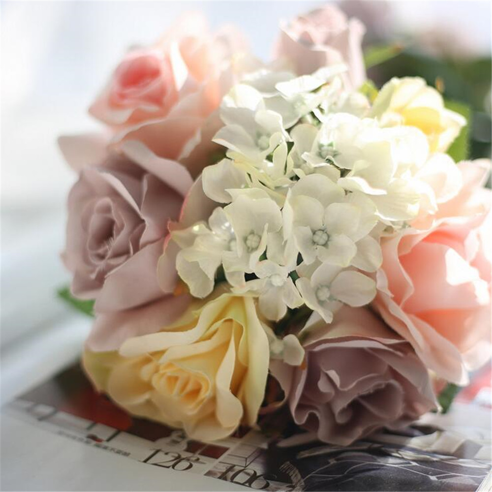 5 Headspcs Champagne Pink Silk Roses Fake Flowers Artificial Peony