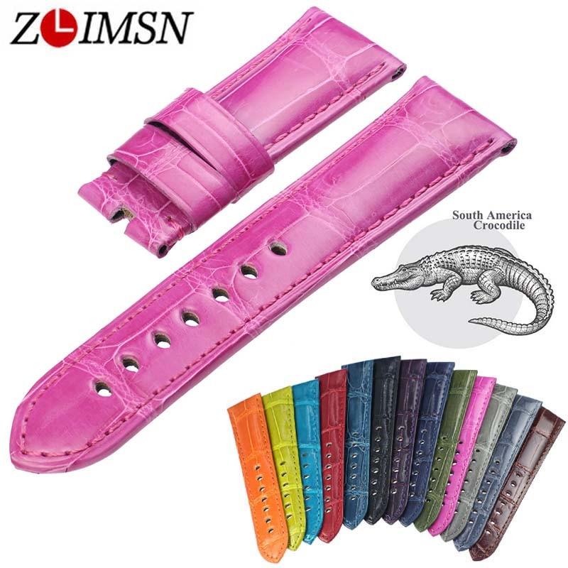 ZLIMSN 13 Color Crocodile Leather Watch Band Men's Women Brown Black Luxury Strap Size 12mm-26mm Suitable for Panerai Watchband crocodile skin pattern cow leather wristwatch strap watchband black size 20l