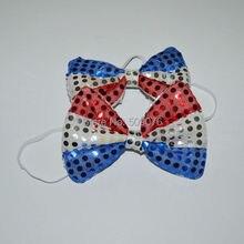 Новинка галстук-бабочка со светодиодами американский флаг США большой галстук-бабочка Красные Белые Звезды и полосы галстук-бабочка для вечерней вечеринки