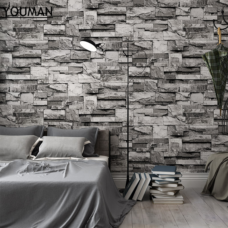 Wallpapers YOUMAN 3D Wall Paper Brick Stone Roll Vinyl PVC Retro Wall Paper Black Washable Luxury Stone Brick Wall Decor Wall wallpapers youman 3d vinyl wallpaper wall decor vinyl wall art pvc 3d embossed wallpaper roll wall paper covering desktop decor