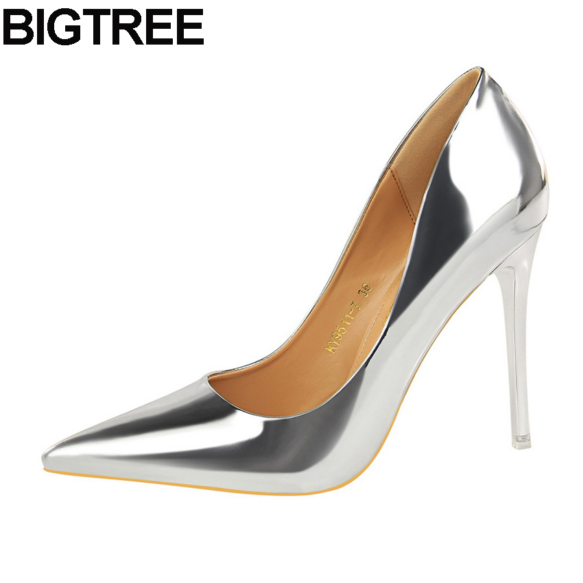 BIGTREE Fashion Shoes Women Glossy Metallic High Heel Stilettos Slip On Faux Leather Women Pumps Thin Heel Party Clubwear Shoes stylish womens pointed toe animal print pumps party stilettos shoes plus new fashion female slip on thin heel super high heel