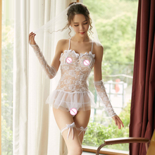 Transparent lace Sexy bride underwear set Veil erotic lingerie porno wedding cosplay bandage Bowknot sexy costume