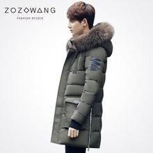 Zozowang new solid hat detachable large fur collar zipper loose fashion winter jacket men casual autumn coat