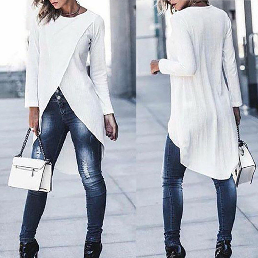 Womens tops and   blouses   2019 Fashion Women Ladies Casual Long Sleeve Forking Irregular Tops   Blouse   Pullover   Shirt   womens clothes