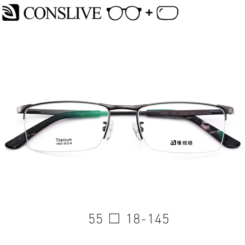 Men Prescription Glasses Titanium Formal Myopic Eyeglasses Half Rimless Dioptric Eye Glasses Man Nearsighted Spectacles V8920