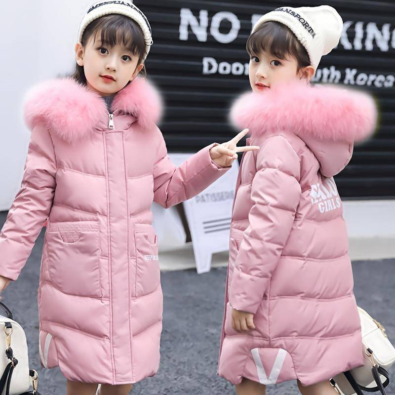 INS hot girls winter coat 4 11 years old Printed letter hooded Fake fur collar Thick cotton coat 2 colors Long warm windbreaker