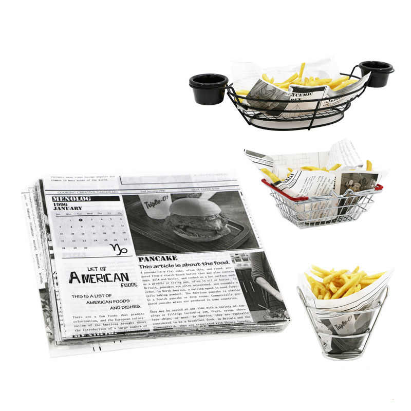 Newspaper Hot Dog Paper Food Grade Wax Coated Paper Black And White Food Grade Wraping Oil-Absorbing Sheet 22*22cm 50/100/200pcs