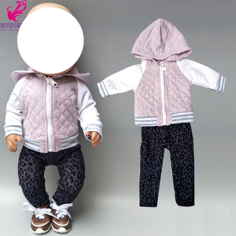"43cm Baby Doll Zipper Clothes Hooded Coat Pants 18"" American Dolls Clothes Jacket"