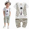 Nova Moda Verão Bebê Meninos Roupas Definir Crianças Conjunto de Roupas T-shirt Curto Colete Criança Meninos Roupas Definir Cavalheiro Terno Traje