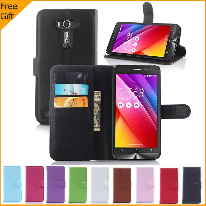Lyxig plånbok Flip PU-läderfodral för Asus Zenfone 2 Laser ZE500KL - Reservdelar och tillbehör för mobiltelefoner - Foto 1