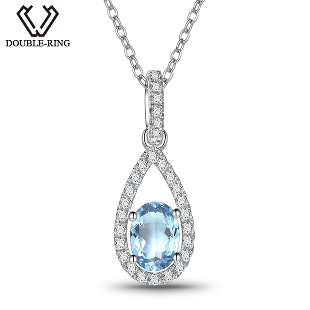 2425111b876ceb DOUBLE-R 0.79ct Natural Blue Topaz Pendants female 925 Sterling Silver  Water Drop Long Necklace Real Women Jewelry Mother Gift