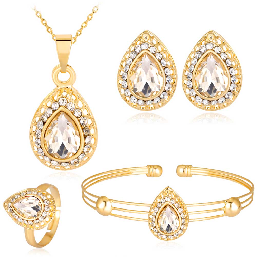 Explosion - proof Water Drops Gem High - grade Rhinestones Alloy - plated four - piece Bridal Banquet jewelry