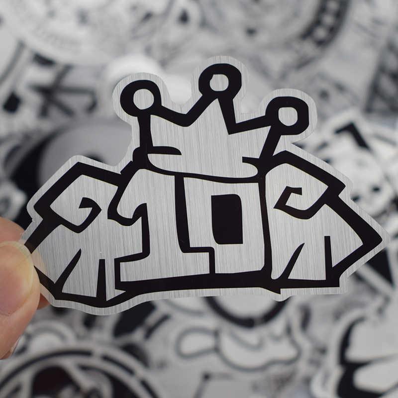 Offre spéciale 50 pièces Métallique Noir et Blanc Autocollants Graffiti Autocollant pour Ordinateur Portable Bagages Voiture Style Guitare Mural Autocollants Cool