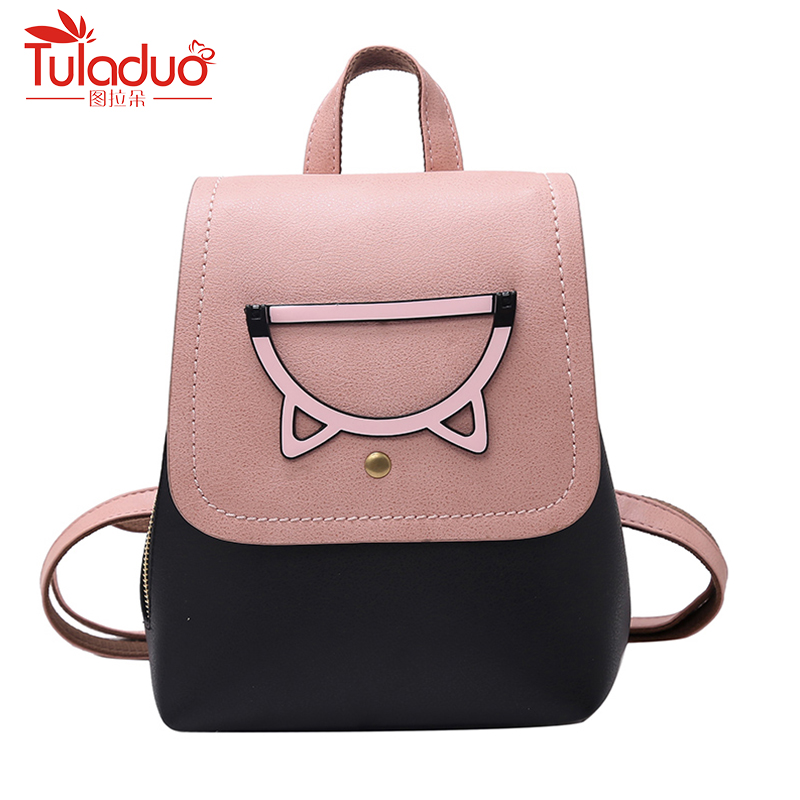 Hot Sale Women Cat Backpack PU Leather Mini Backpacks Fashion Women School Bags for Teenage Girls Bags Backpack Mochilas Sac melodycollection candy color pu leather mini backpack for women girls purse fashion schoolbag mini casual daypack dome backpacks