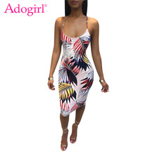 Adogirl Tropical Blätter Drucken Spaghetti-trägern Sommer Kleid Backless Bodycon Frauen Strand Kleid Weibliche Sexy Midi Club Vestidos(China)