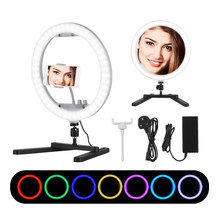 13 Inch Selfie Desktop Led Ring Photo Light Rgb Color Selfie Light Dimmable 3200k-7000k Photography Lamp For Iphone Ringlight(China)