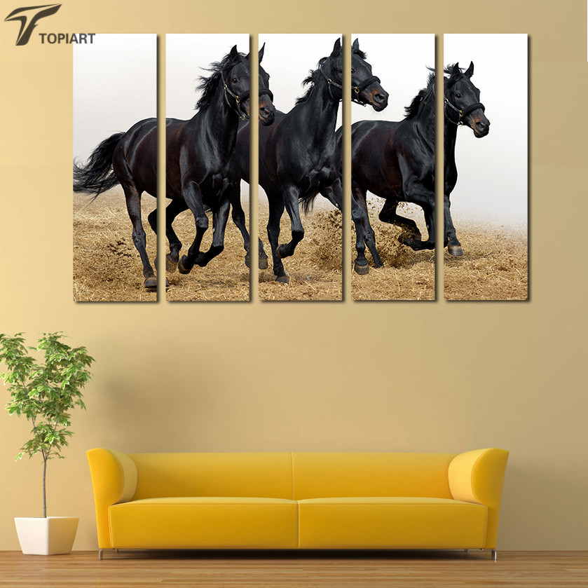 Large Canvas Wall Art 5 Panel Horse Painting Modern Animal Running ...