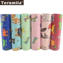 TERAMILA 40x50 centímetros Animal Dos Desenhos Animados Projeto 6 PCS Tecido 100% Algodão Quilting Capa de Almofada Travesseiro Pano de Costura DIY decoração de casa