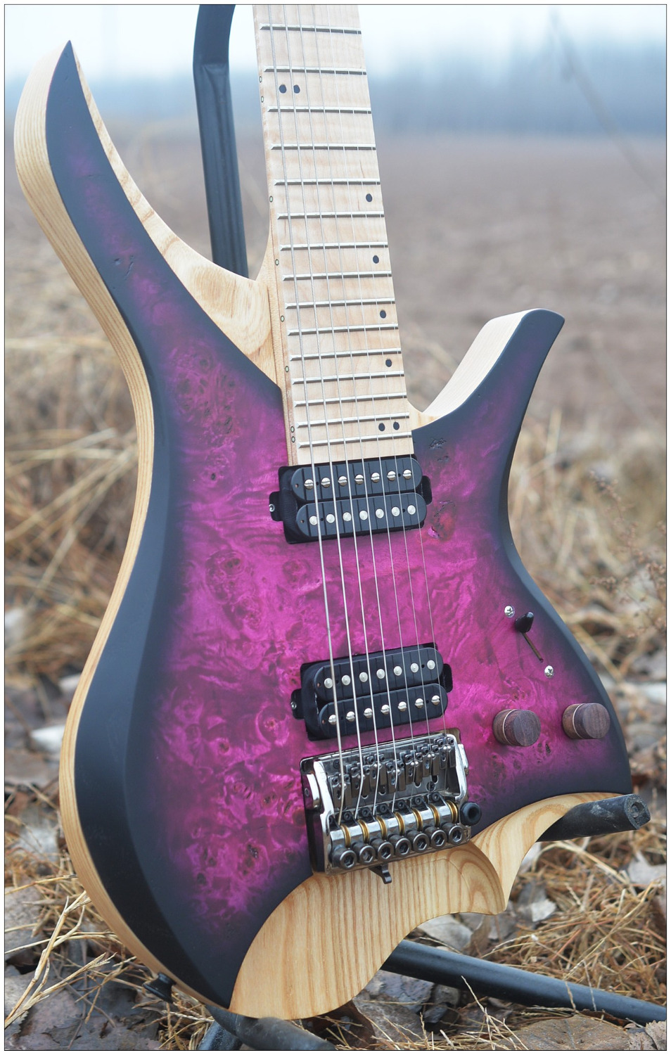 NK Headless 7 Strings Headless Electric Guitar Purple burst spalted curly maple top Flame maple Neck in stock free shipping