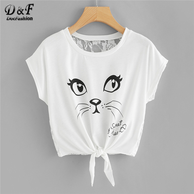 2c0444495 Dotfashion Cat Letter Print Lace Back Knot Front Tee 2019 Summer Short  Sleeve Round Neck T-shirt Women White Cut Out Crop Tops