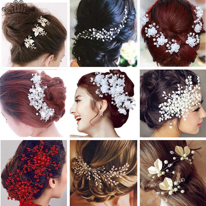 Ceramic Flower Hair Comb Headwear Women Wedding Bride Hair Pin Gift Pink White
