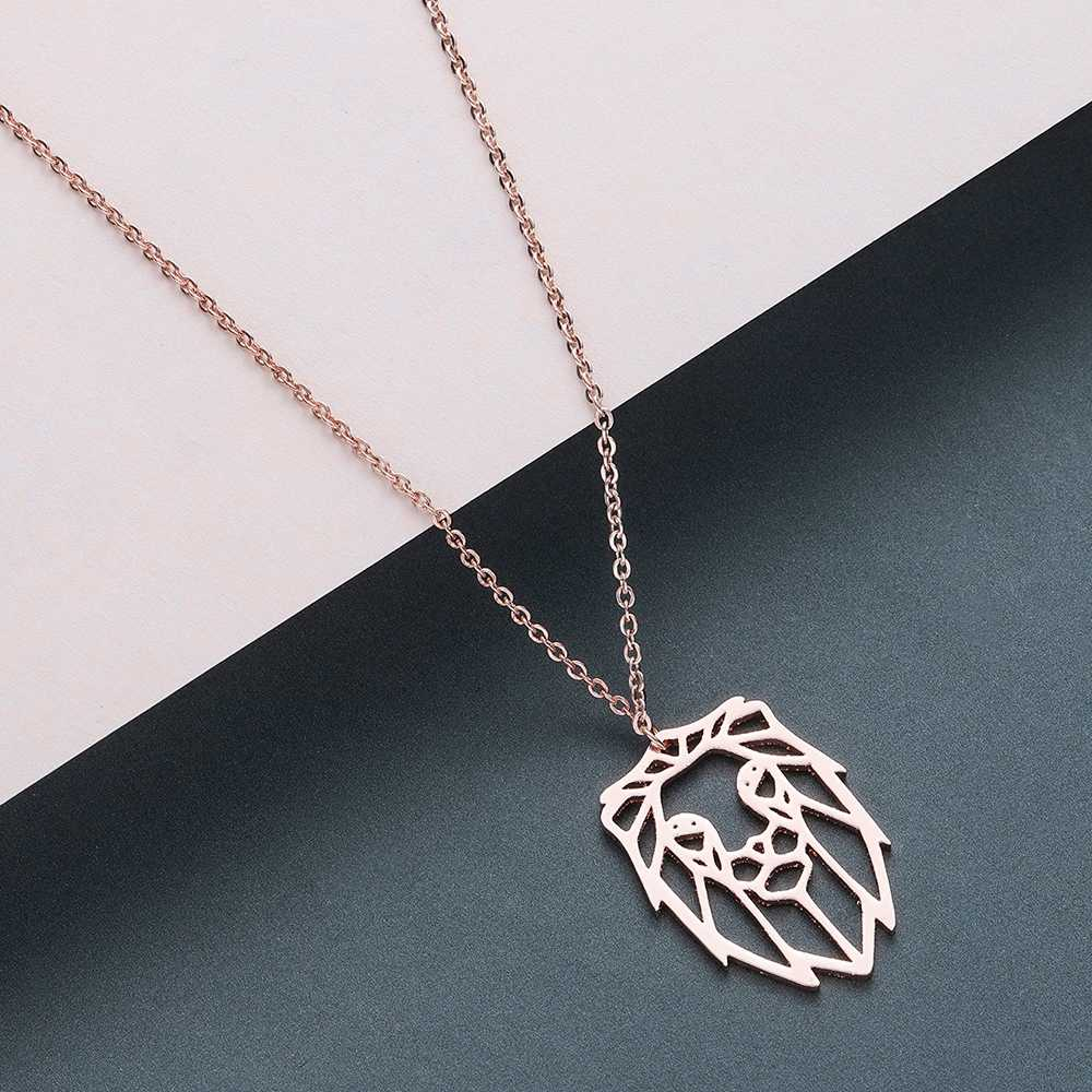 Todorova Origami Lion Men Necklace HipHop Lion Head Charms Pendant Necklace Geometric Jewelry Animal Zodiac Necklace Accessories