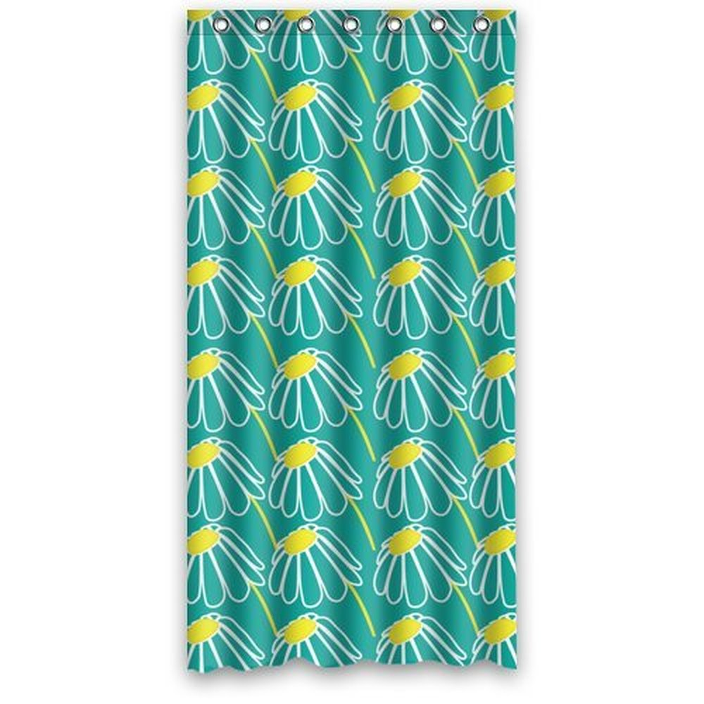 Yellow and blue shower curtain - 36w 72h Inch Teal Blue Daisy Flower Art Pattern Fabric Shower Curtain Polyester Waterproof Bath