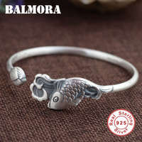 BALMORA 100 Real 990 Pure Silver Vintage Fish Lotus Flower Open Bangles For Women Animal Jewelry