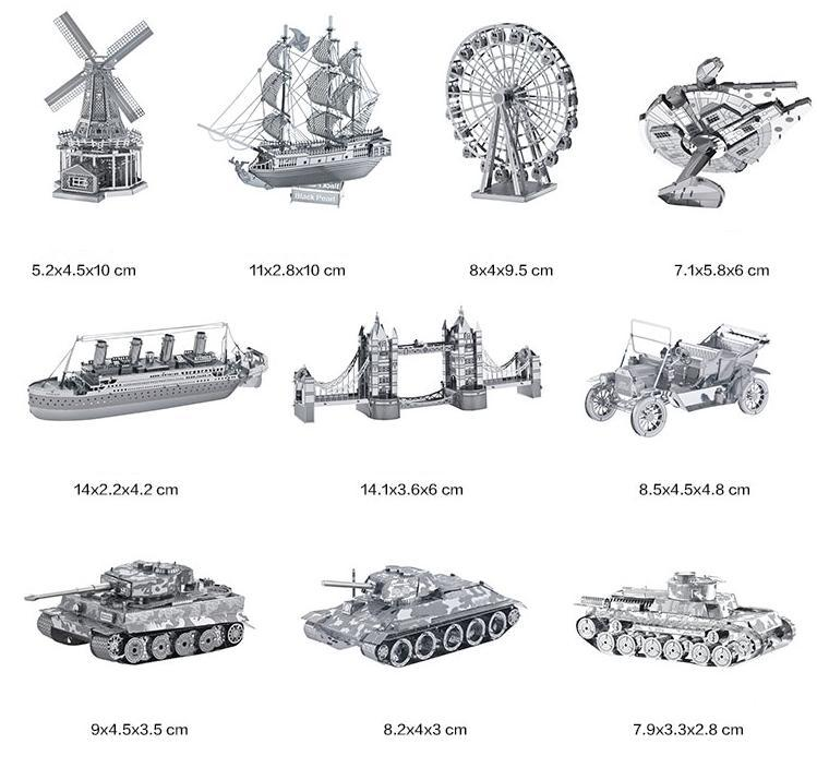 25 Kinds 3D DIY metal puzzle jigsaw model cheapest sale building model kits boat aircraft bridge model Titanic Sky Tower Piano