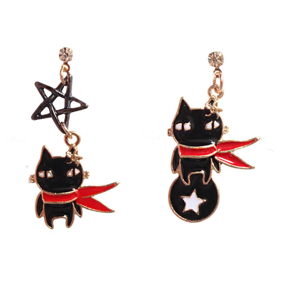 Lovely black and white drop glaze cat five-pointed star female asymmetric earrings 2017 super cute girl earrings wholesale ...
