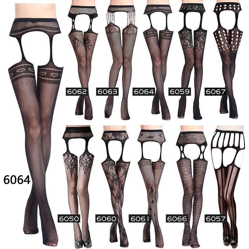 Kobiety seksowna bielizna czarny seksowny pasek elastyczne pończochy pończochy kabaretki udo Sheer rajstopy haft rajstopy wielostylowy