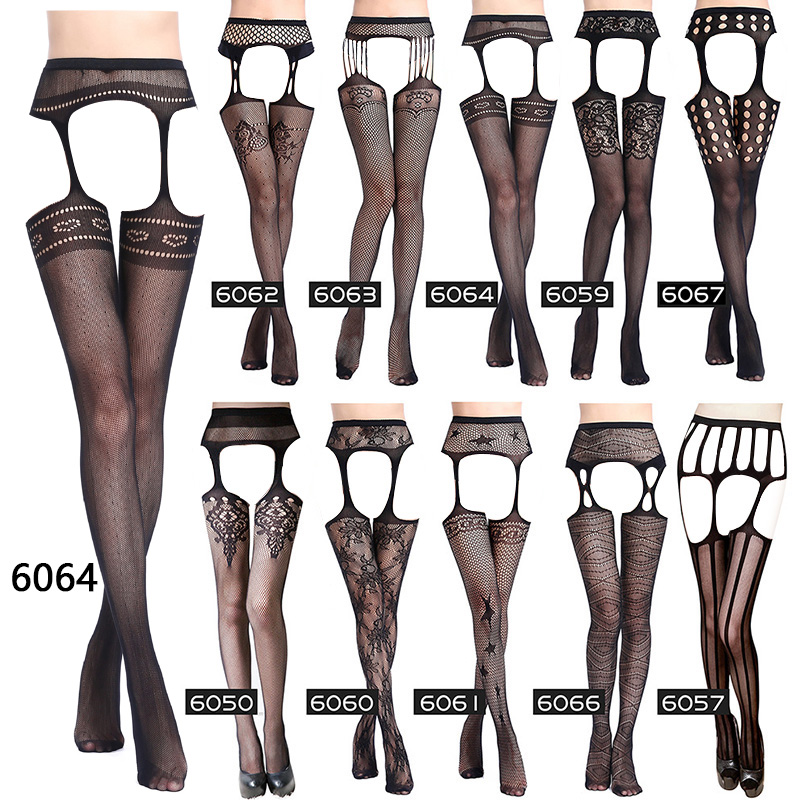 Women Sexy Lingerie Black Sexy Stripe Elastic Stockings Fishnet Stockings Thigh Sheer Tights Embroidery Pantyhose Multi Style