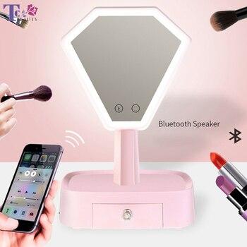 Bluetooth Speaker Makeup Mirror With Led Light Multifunction Storage Box Desktop Mirror Princess Table Lamp Cosmetic Mirror