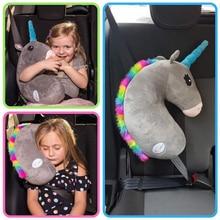 Cartoon Unicorn Car Seat Belt Shoulder Pad PP Cotton Auto Seatbelt Cover For Kids Child Horse Accessories Safety Belt Pillows