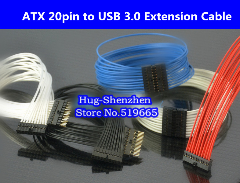 10pcs NEW ATX 20pin to USB3.0 Sliver Extension Cable 18AWG wire 20cm/30cm/40cm/60cm high quality atx 24pin motherboard power extension cable 30cm four colors for your choice 18awg 24pin extension cable