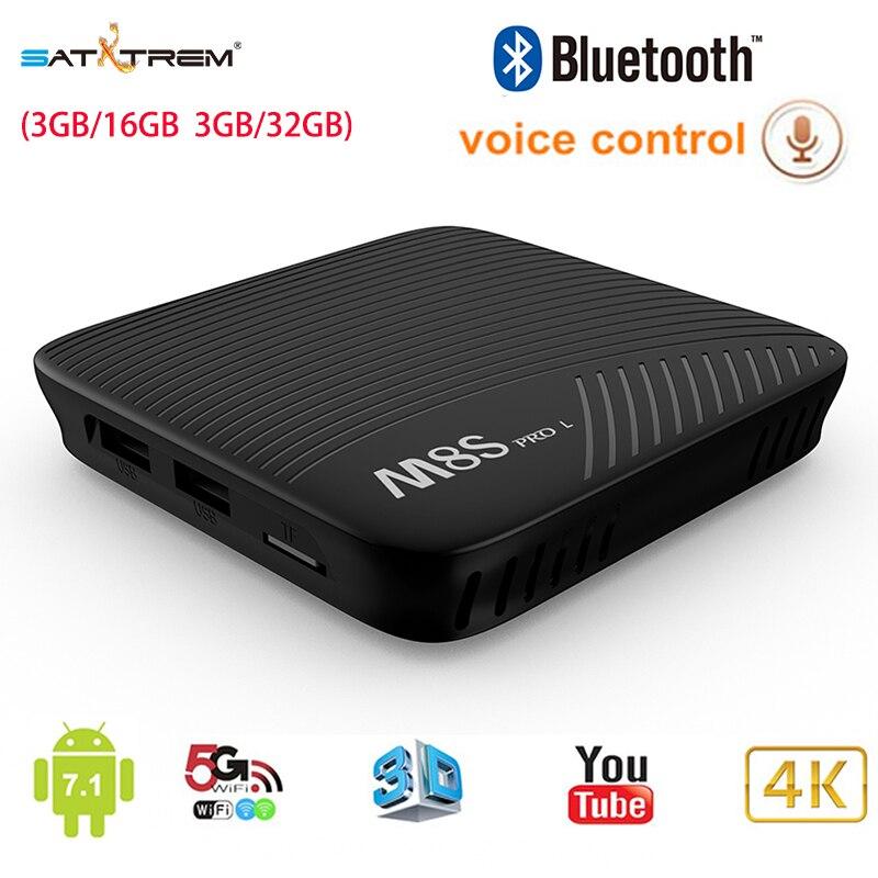 Satxtrem Mecool M8S PRO L 2,4g Control remoto de Voz 3 GB/16 GB 3 GB/32 GB android 7,1 TV caja Amlogic S912 5G Wifi BT4.1 Set-top Box