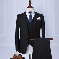 2017 الرجال الظهر اثنين زر الدعاوى التجارية ضئيلة تناسب الدعاوى اللباس الرسمي بدلة السترة masculino الدعاوى الزفاف للرجال 3 قطعة