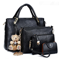Mulheres Sacos Bolsa Alça Superior Conjunto Composto de Couro PU Famoso marca Borse saco kit sacos senhora mensageiro bolsa urso de brinquedo 4 pçs/set