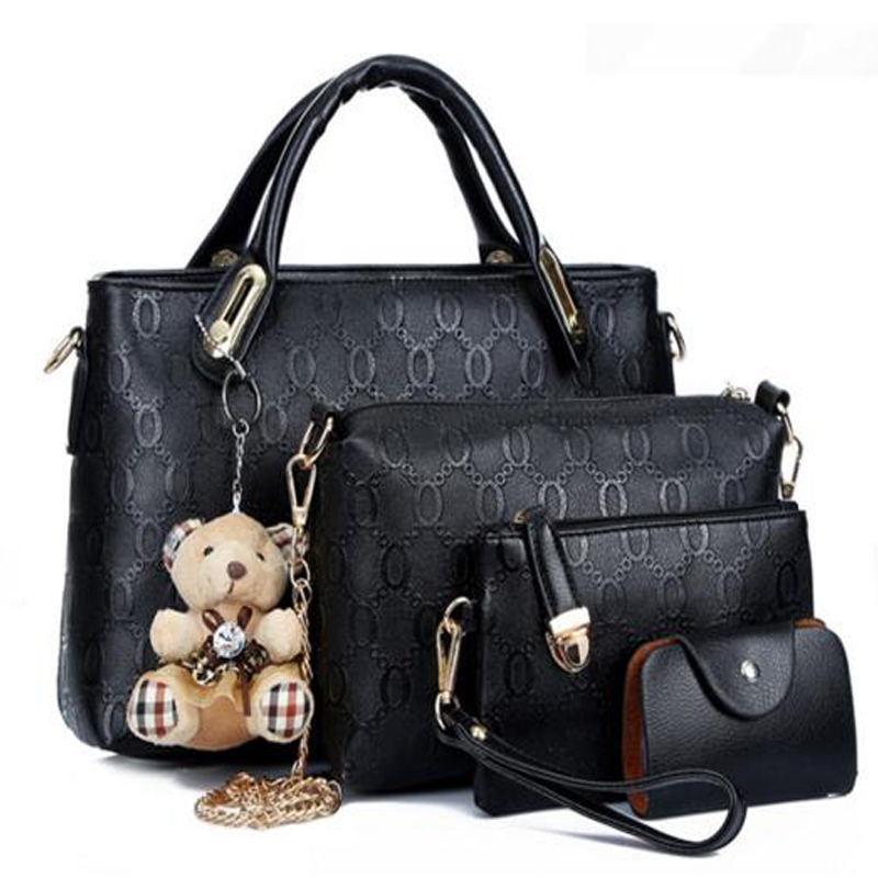 Borse Bear Bag : Women top handle bags handbag set pu leather composite