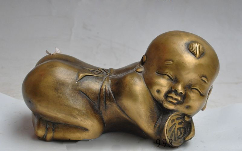 Old Chinese bronze Copper Wealth fu Auspicious Lovely Boy doll Pillow Pillows Old Chinese bronze Copper Wealth fu Auspicious Lovely Boy doll Pillow Pillows